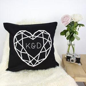 Jewelled Heart Double Initial Personalised Cushion - cushions
