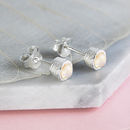 Silver Opal Birthstone Stud Earrings