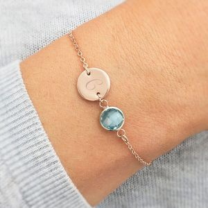 Personalised Initial Disc Birthstone Bracelet - christmas with free uk delivery