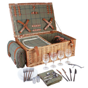Champs Elysées Luxury Four Person Tartan Picnic Hamper
