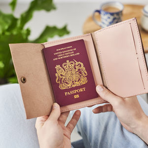 Personalised Blush Leather Passport Holder