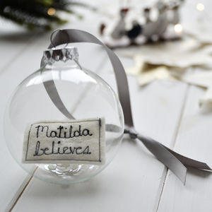 Personalised 'Believes' Glass Christmas Bauble