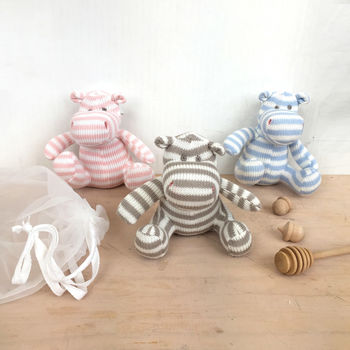 Knitted Hippo Baby Toy In Gift Pouch