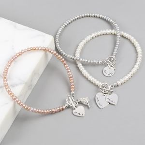 Personalised Handmade Seed Pearl And Toggle Bracelet - bracelets & bangles