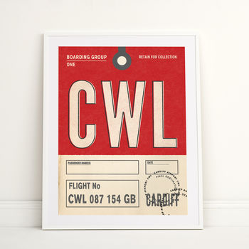 Personalised Cardiff Vintage Luggage Tag Print