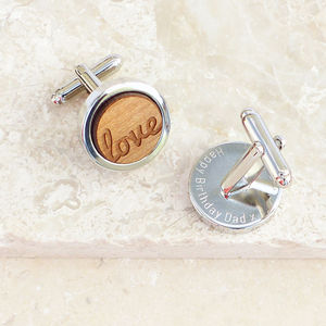 Personalised Wooden Love Cufflinks - cufflinks