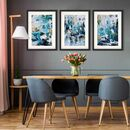 Abstract Teal Waves Print Set Of Three