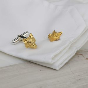 Solid Silver, Gold Or Rose Gold Sculpted Fox Cufflinks - men's accessories