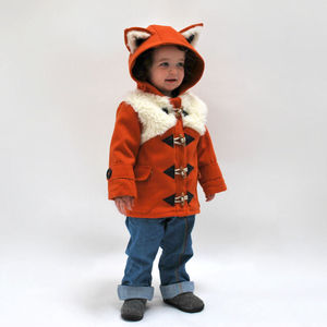 Children's Lined Animal Hooded Duffle Coat: Fox - clothing