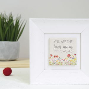 'Best Mum In The World' Framed Clay Tile Art