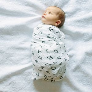 Letters Muslin Swaddle Blanket - baby shower gifts