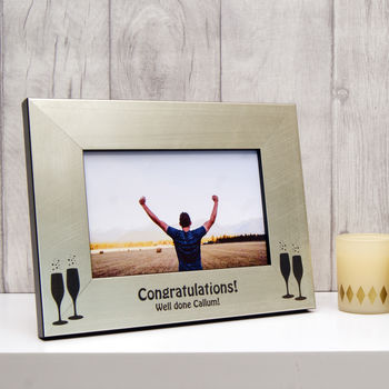 Congratulations Photo Frame in Champagne Silver
