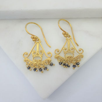 Black Diamond Chandelier Gold Earrings