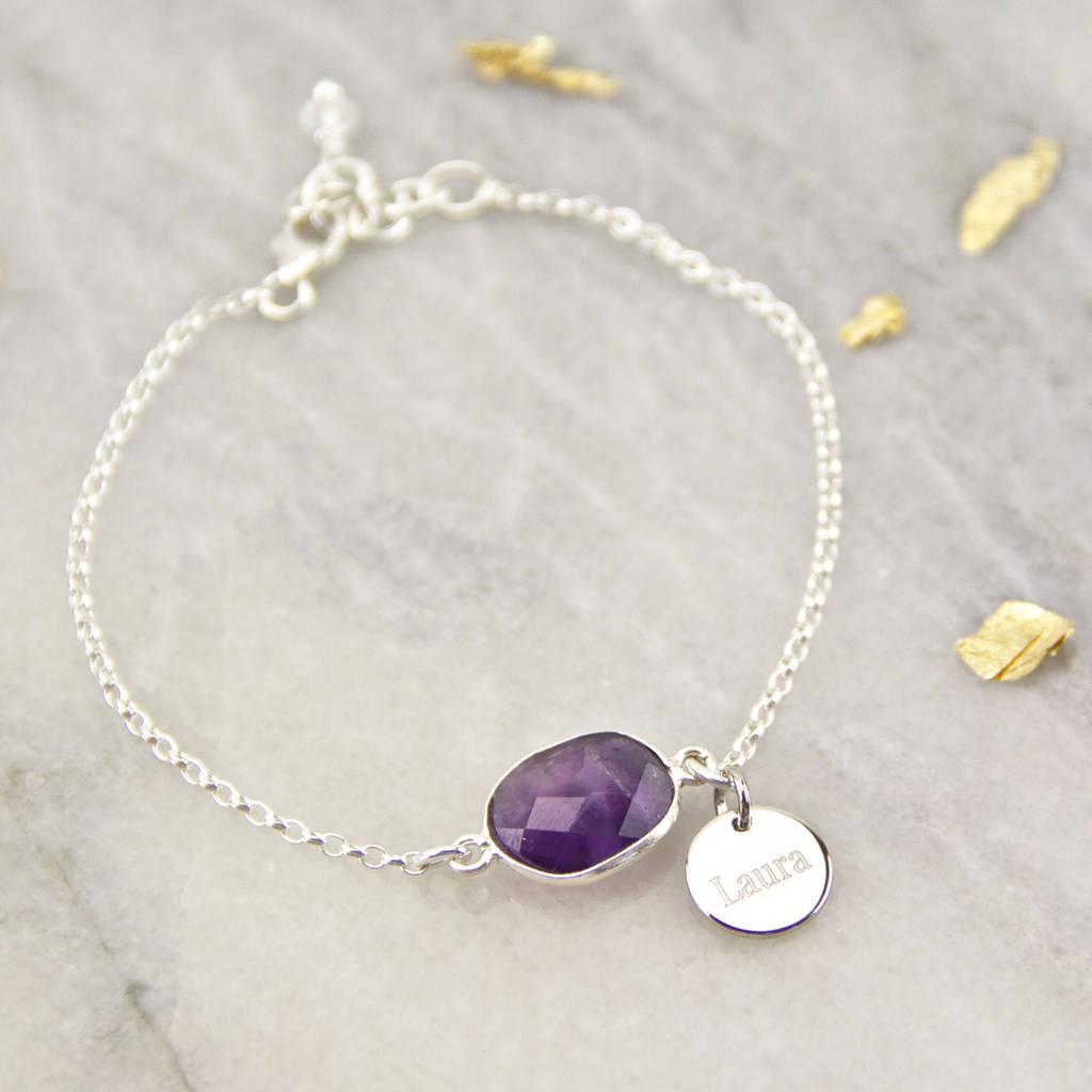 Personalised Silver Amethyst Bracelet