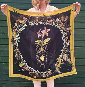 Alice Acreman Silks 'Cardiac' Illustrated Silk Scarf