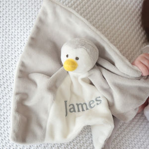 Personalised Grey Penguin Comforter - decorative accessories
