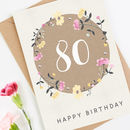 80th Birthday Card Floral