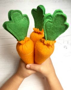 Set Of Three Pretend Play Felt Food Carrots
