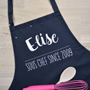 Personalised Couples Aprons Head And Sous Chef
