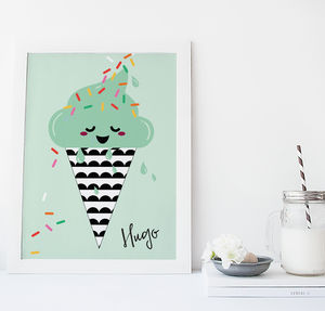 Ice Cream Illustration Children's Print - nursery pictures & prints