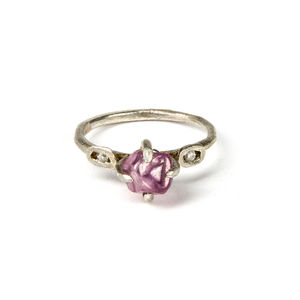 Raw Pink Sapphire Ring In White Gold