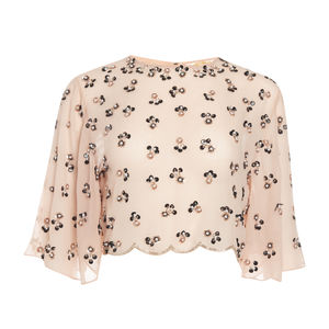 Bohemian Flare Sleeves Embellished Top - tops & t-shirts