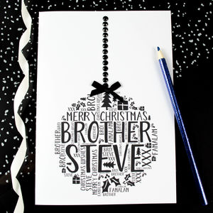 Personalised Brother Christmas Bauble Card