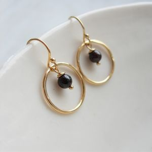 Garnet And Gold Hammered Circle Earrings