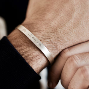Personalised Silver Handwriting Signature Bangle - best gifts for him