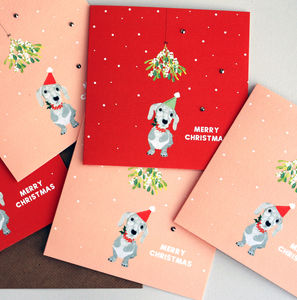 'Sausage Dog' Christmas Card Pack Of Five Or Single