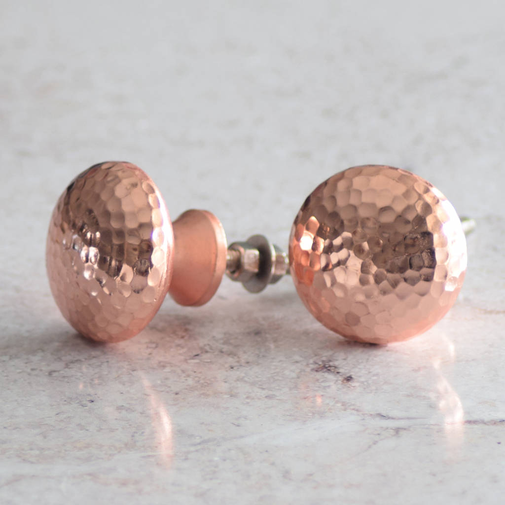 Copper And Silver Hammered Cupboard Door Knobs By Pushka