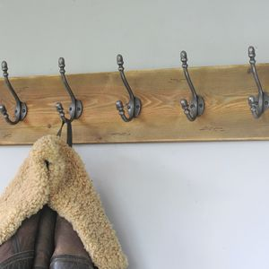 Vintage Style Natural Wood Coat Rack - hooks, pegs & clips