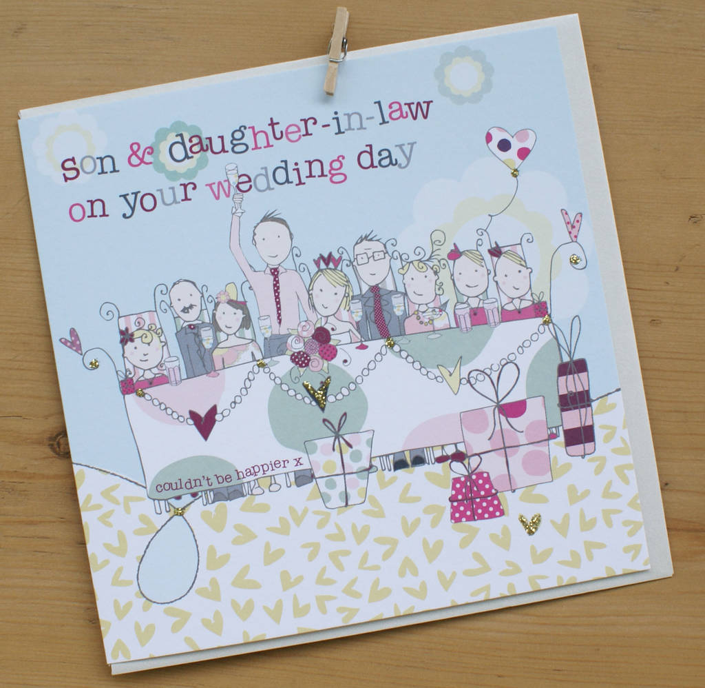 Son And Daughter In Law Wedding Or Anniversary Card By Molly Mae