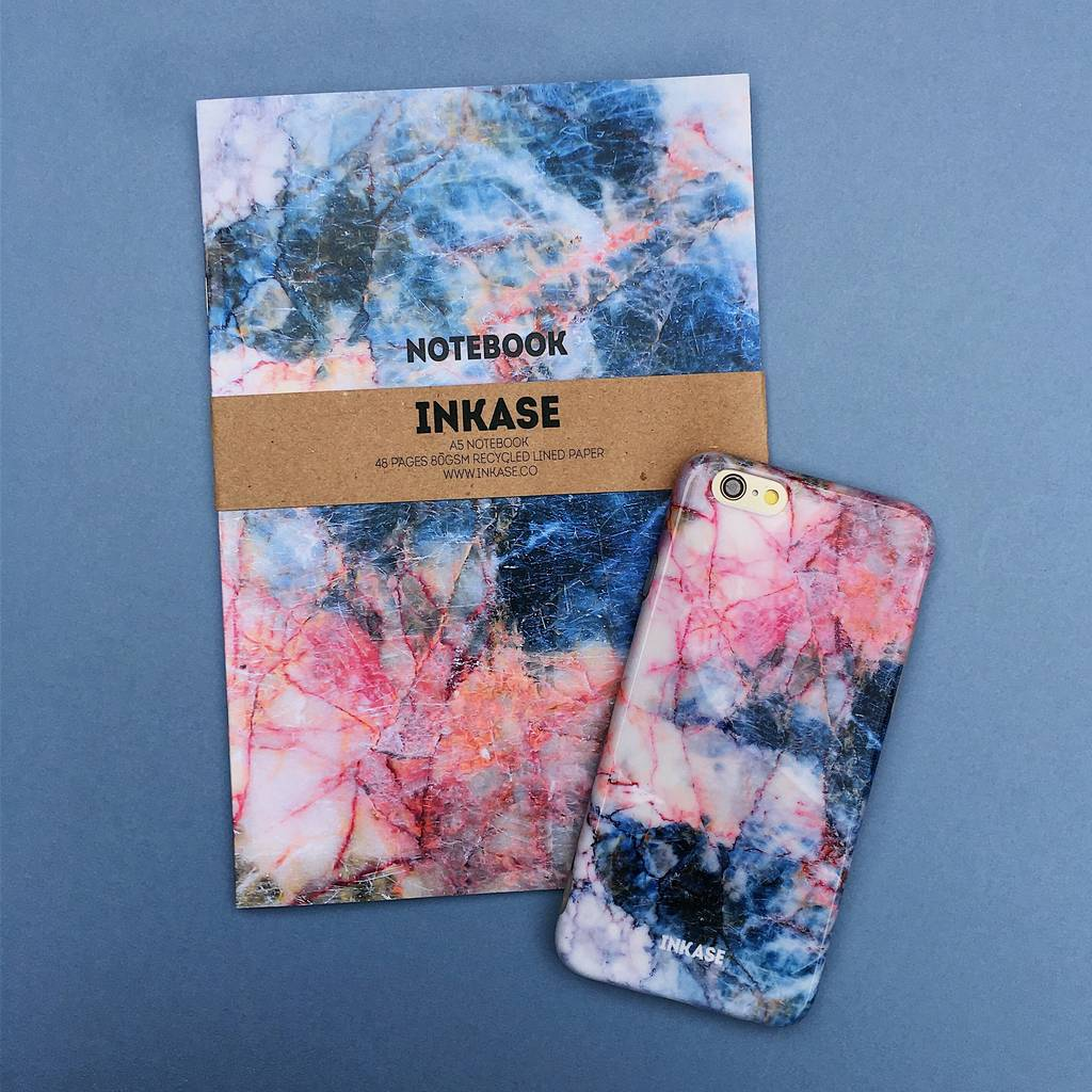Red And Blue Marble iPhone Case And Notebook