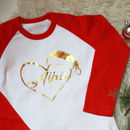 Personalised Santa Heart Kids Christmas Name T Shirt