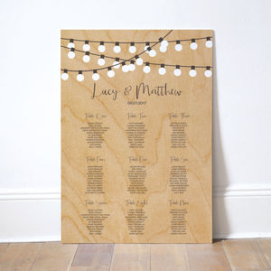 String Lights Wedding Table Plan - new in wedding styling