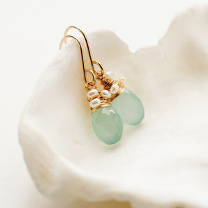 Aqua Green Quartz And Pearl Earring