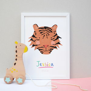 Children's Personalised Name Tiger Print - animals & wildlife