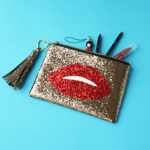 Glitter Lips Clutch Bag Ruby - bags & purses