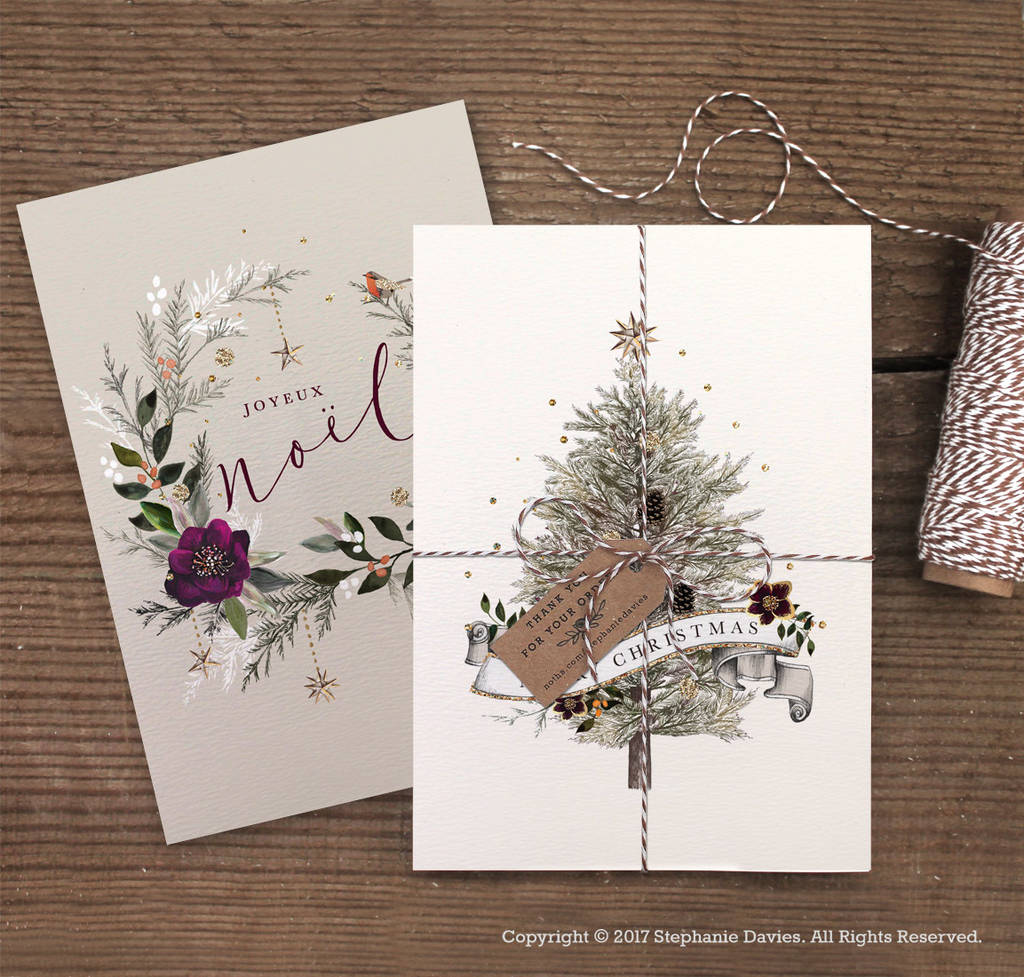 Luxurious Christmas Trees: Pack Of Luxury Christmas Tree And Wreath Cards By