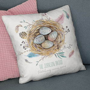Personalised 'Family Nest' Faux Suede Cushion - bedroom