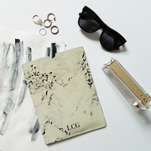 Monogram Marble Print Leather iPad Sleeve - womens