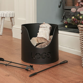 Black Iron Log Bucket With Poker And Tongs