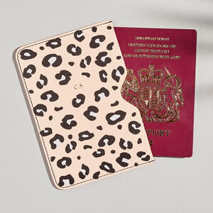 Personalised Pink Leopard Print Leather Passport Holder
