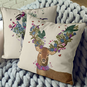 Deer And Green Birds Decorative Cushion