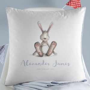 Personalised New Baby Bunny Cushion - children's room