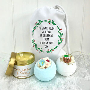 Auntie Bath Gift Set And Candle - bathroom
