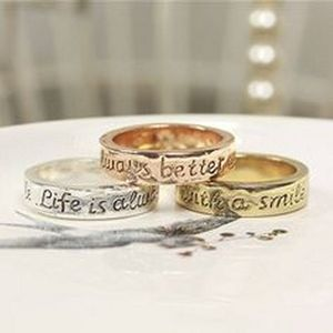 Life Is Always Better With A Smile Quote Ring - rings