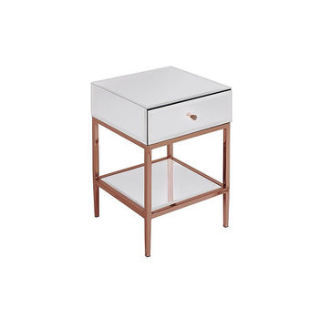 White Glass And Rose Gold Side Table