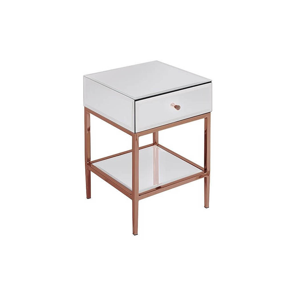 White Gl And Rose Gold Side Table